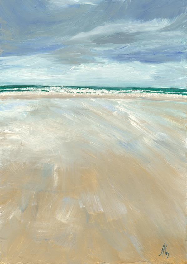 новая картина, морской, пасмурное небо
