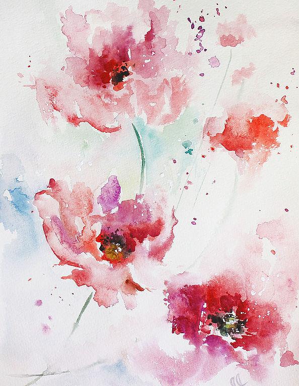 акварель, акварельные цветы, картины с маками, шебби-шик