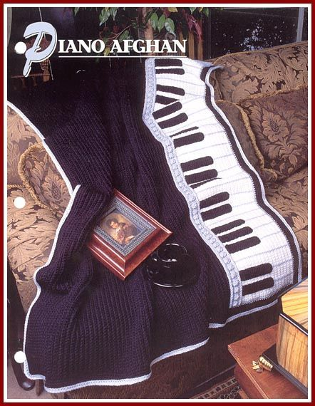 Pattern for crocheted piano afghan from Annie's Attic, published in 1997