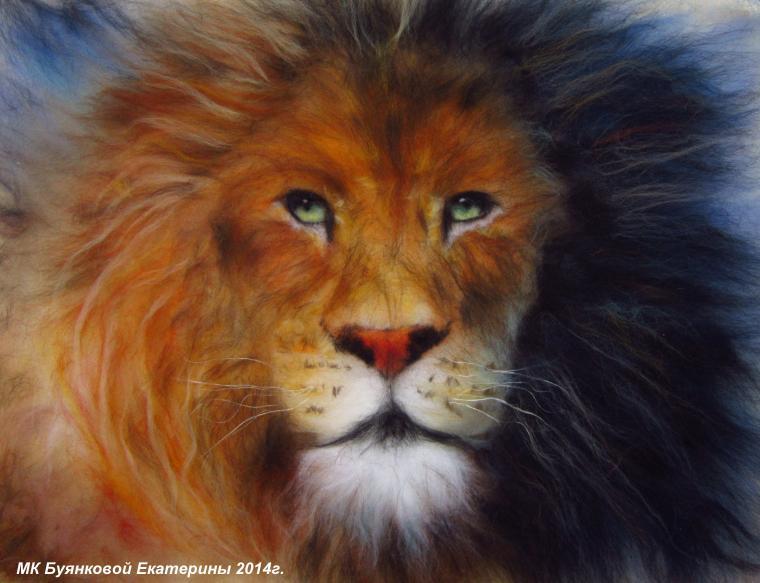 картины из шерсти, лев