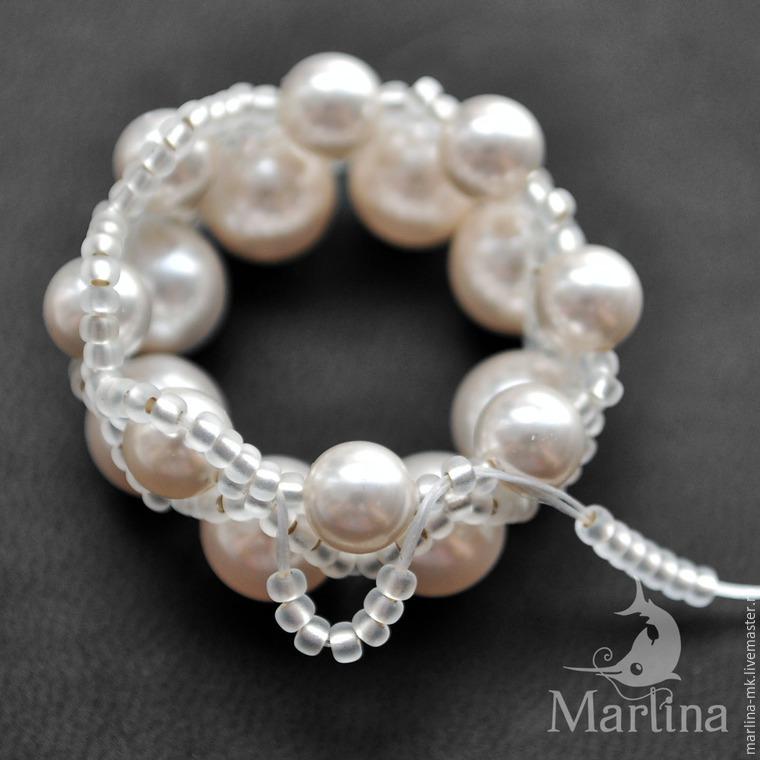 Jellyfish Pendant DIY with Pearls and Swarovski Crystals, фото № 9