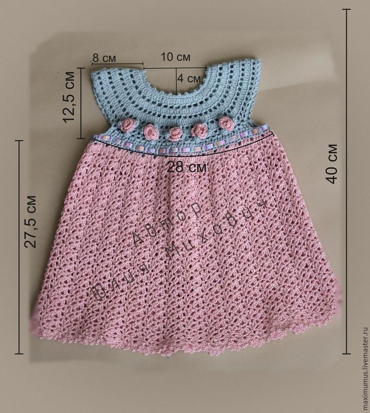 вяжем крючком платье для девочки Rosa мастер класс для