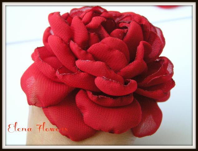 Розы из шифона мастер класс