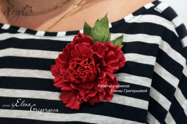 цветы своими руками, роза из кожи, роза-брошь