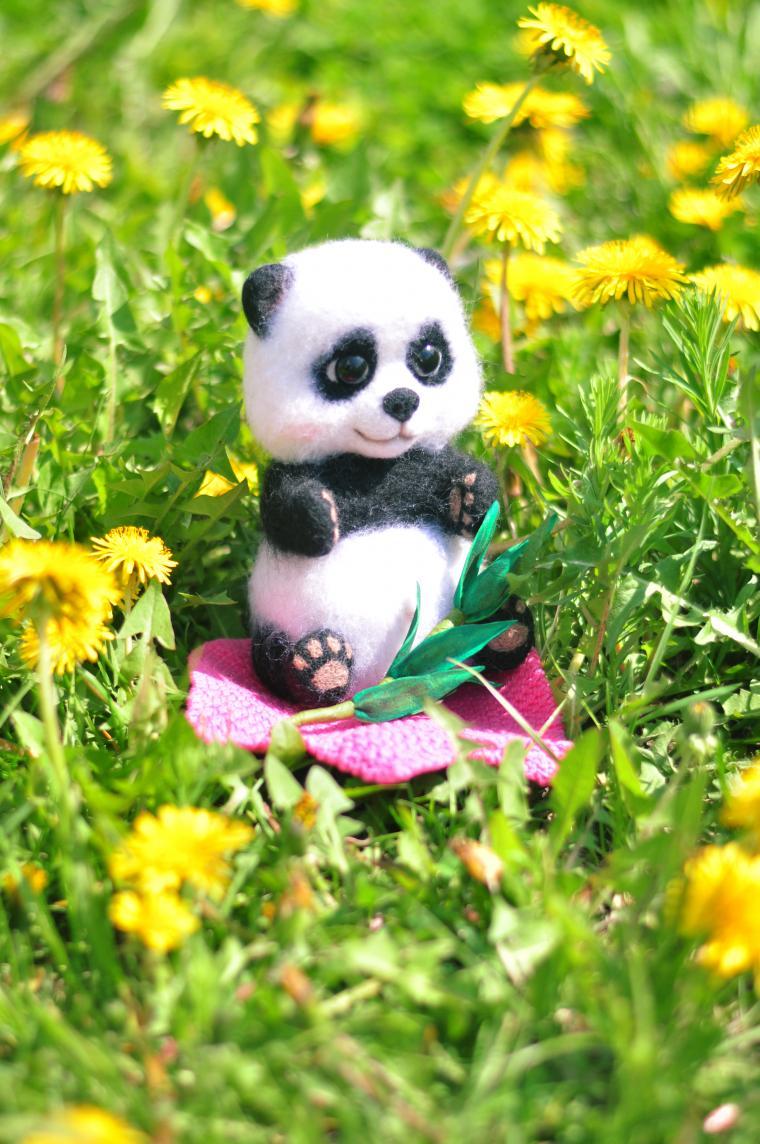 валяние из шерсти, фелтинг, панда, обучение валянию, творческая мастерская