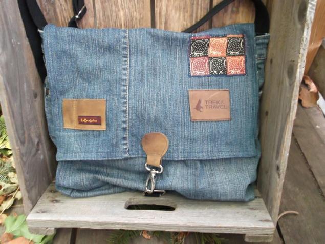 Сумка в стиле бохо из джинсы