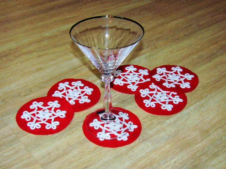 подставки под бокалы, новогодний декор, подарок на новый год