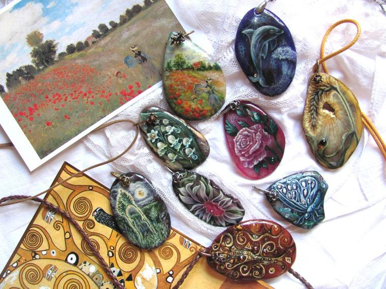 новые украшения, лаковая миниатюра, катерина аксенова, авторская роспись, климт древо жизни