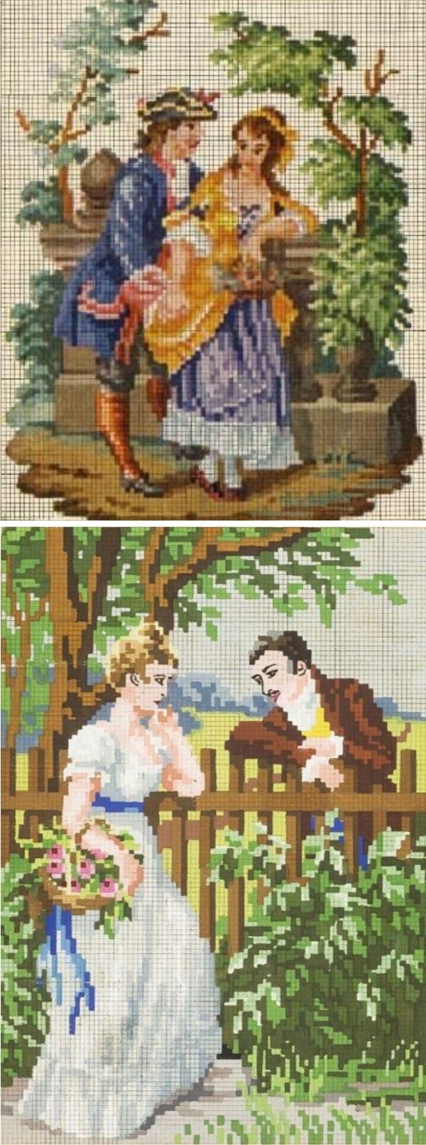 Старинные схемы вышивки крестом картины