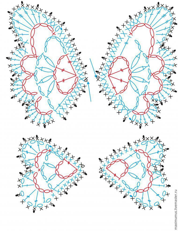 схема вязания бабочки