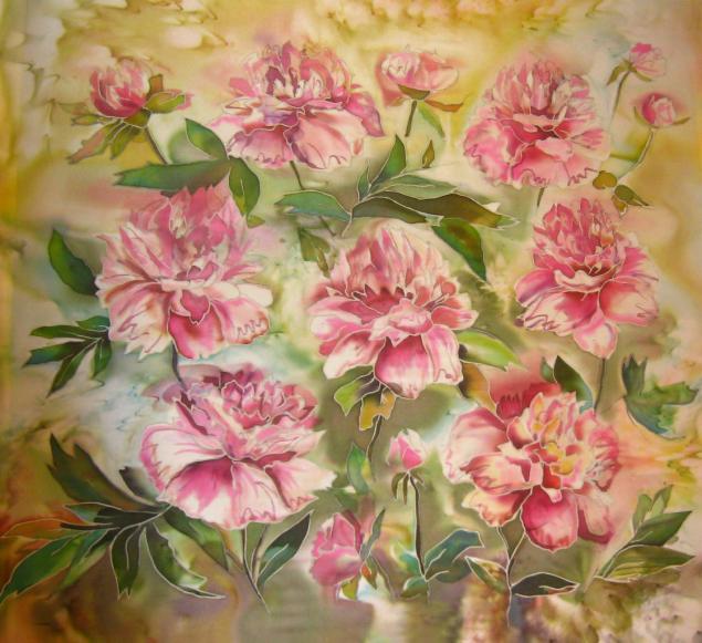 шарфы на шелке, холодный батик, весна, своими руками