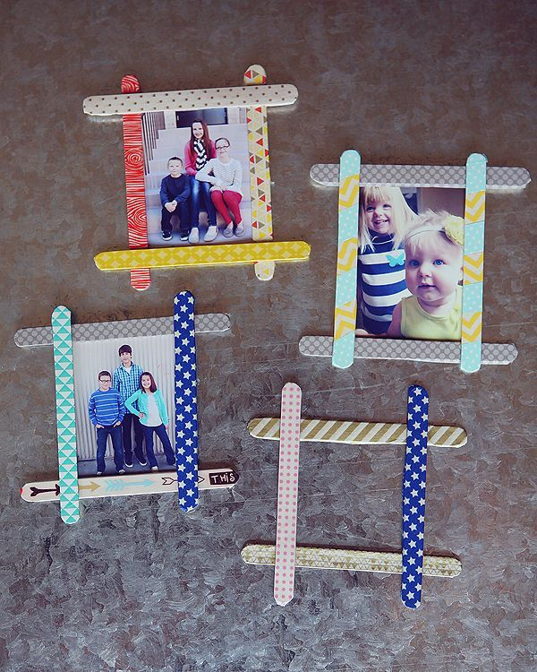 These cute little frames are made from popsicle sticks, paint, glue.  You can decorate them with most anything you like, glitter, buttons, etc.  Any child would love these.