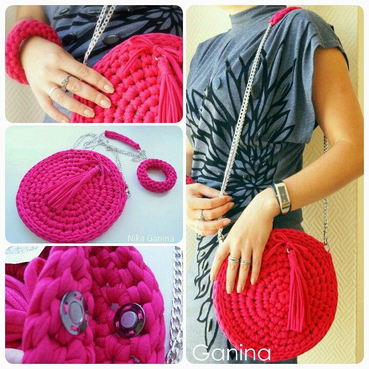 Вязание спицами сумки из трикотажной пряжи 8