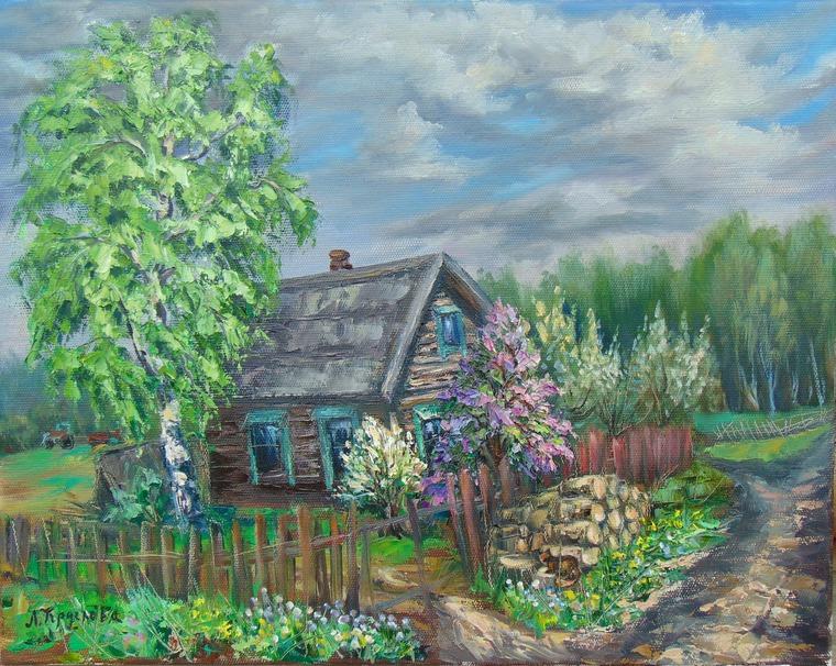 этюд, плэнер, рисуем пейзаж с натуры, рисуем маслом, домик с сиренью, домик, ябони, дрова, кот, рисуем деревенский пейзаж