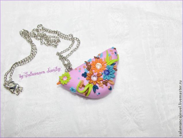 птичка из пластики, рубины, украшения с рубинами, серьги, весеннее украшение, розовый кулон