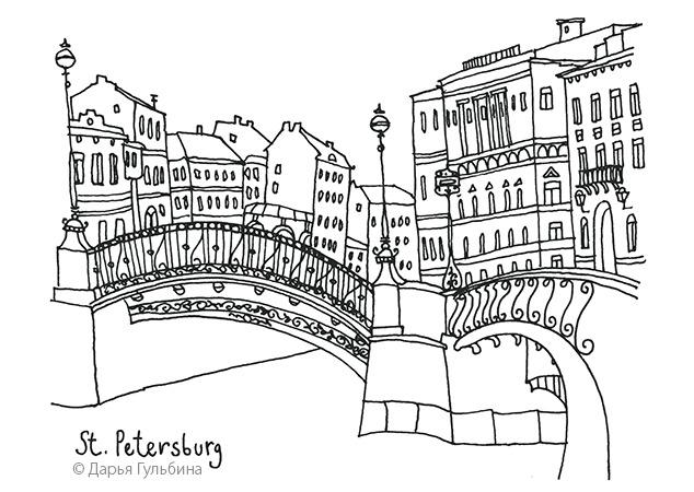 петербург, рисунок, фонарь
