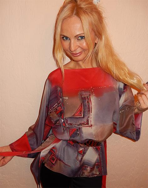 блузка, натуральный шелк, аукцион, геометрический узор, серый, новый год, туника, ручная роспись