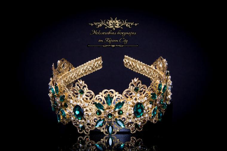 украшение для головы, корона в стиле дольче, горный хрусталь