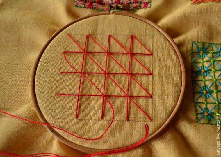 Вышивка сетки декоративные