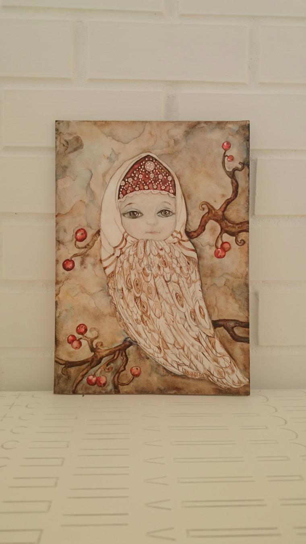 акварель, сказочная птица, картина сказка, сказка для интерьера