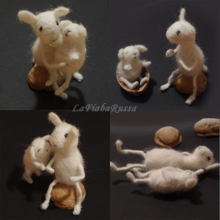 войлок, войлочная игрушка, овечка, мама, семья, шерстяные игрушки