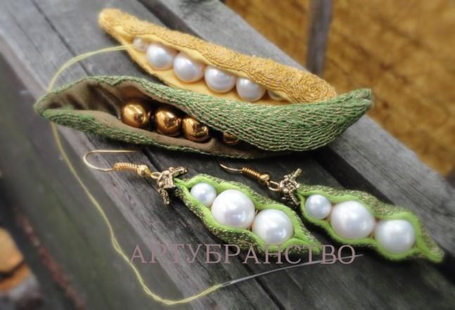 жемчуг натуральный, прорезные серьги