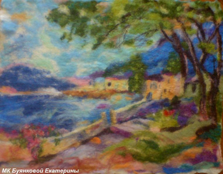 картины из шерсти, пейзаж, буянкова екатерина