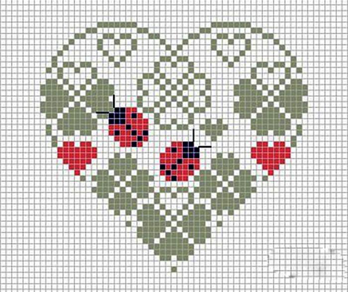 Простые схемы сердечек крючком