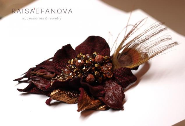 павлин, handmade, подарок на 8 марта, брошь цветок