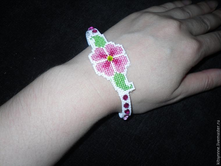 Как сделать браслет с вышивкой «Весеннее настроение», фото № 12
