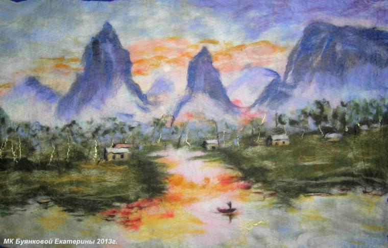 Мастер-класс по мокрому  валянию картин из шерсти - шерстяная акварель, фото № 2