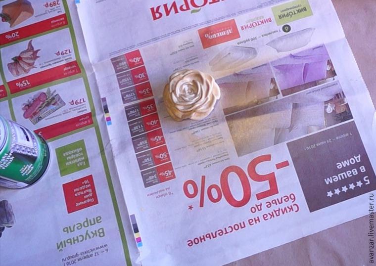 Создаем заколки с кружевом и золотыми розами из фоамирана, фото № 14