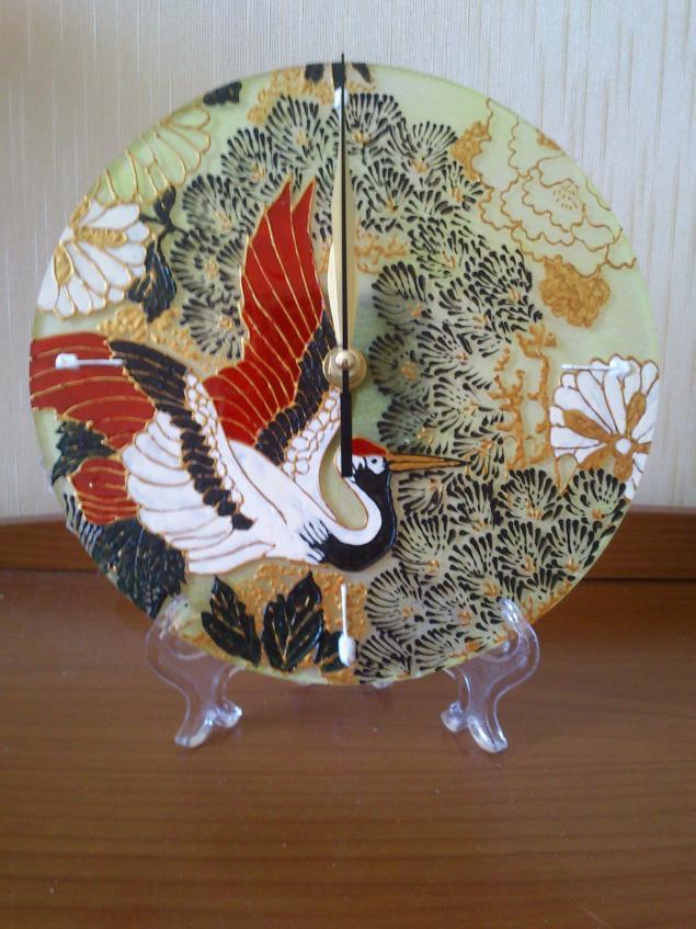 часы, птица, роспись, роспись по стеклу, восточный стиль, витражная роспись