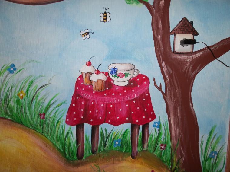 роспись стен, роспись стен в детской, рисунок в детской, роспись мебели
