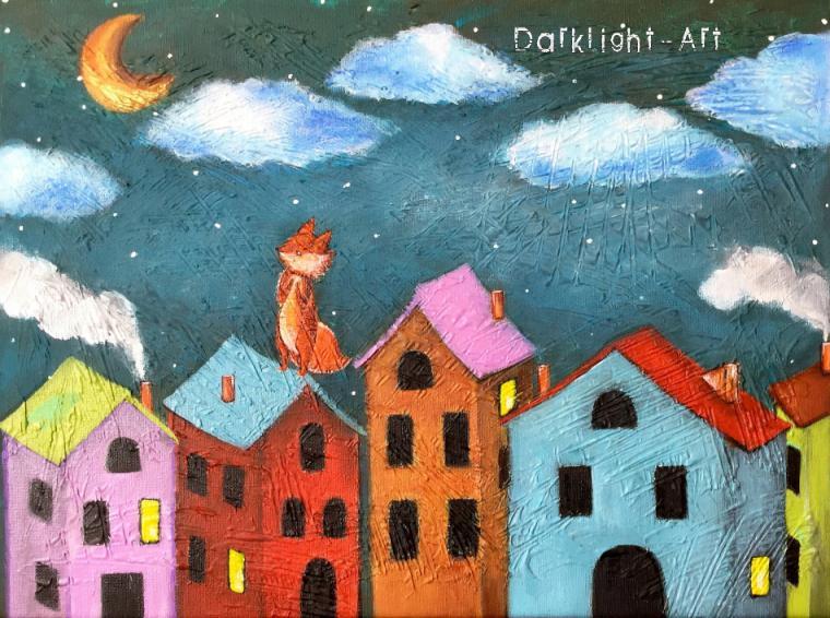 новинки магазина, картина в детскую, для детской, фантазийный сюжет, лисенок, сон, домики, креатив, бирюзовый, авторская картина
