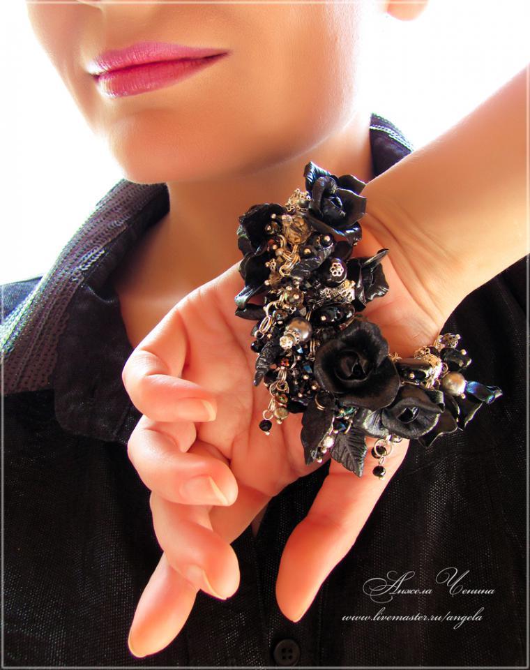 черные розы браслет