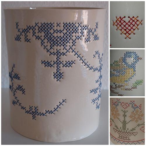 Embroidered ceramic by Irene Johansen