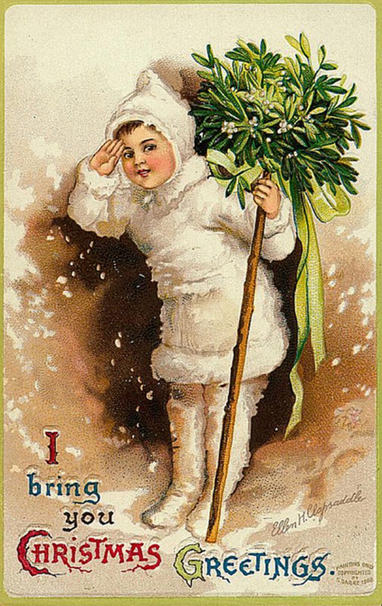 Рождественские открытки с омелой