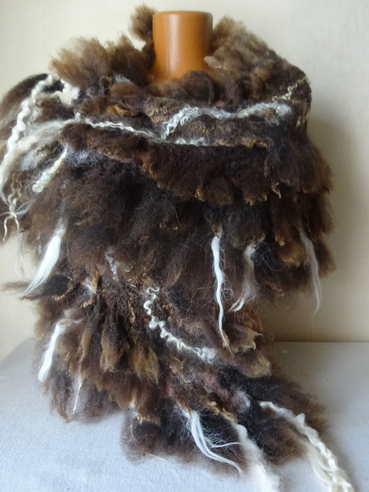 шаль валяная, шарф теплый