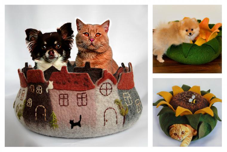 валяние домика для кота