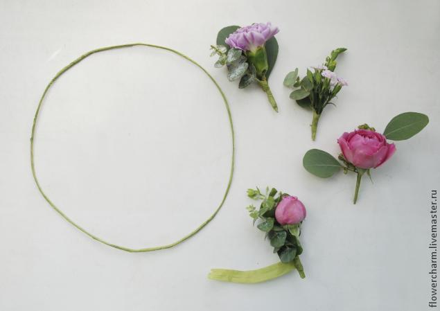 венок невесты, оформление цветами