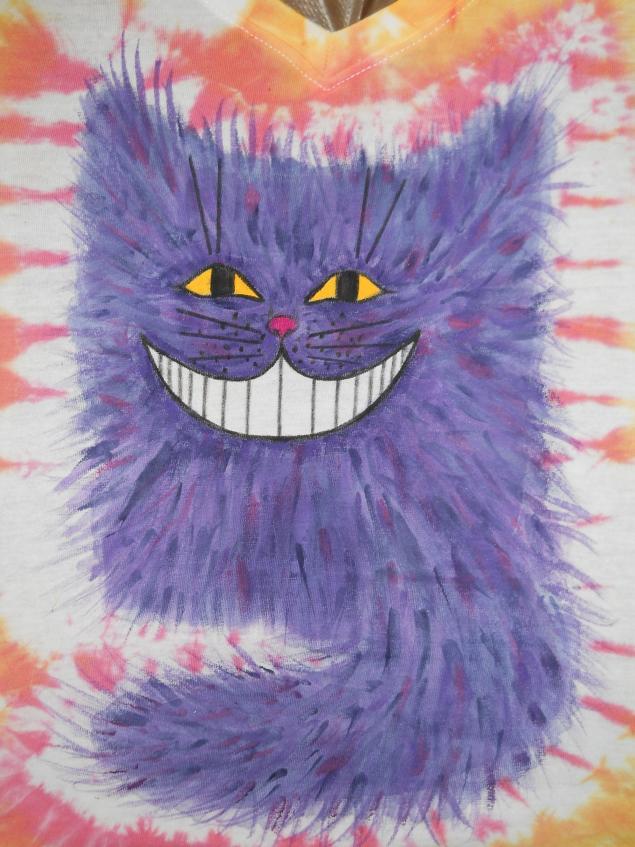 кот, роспись по ткани