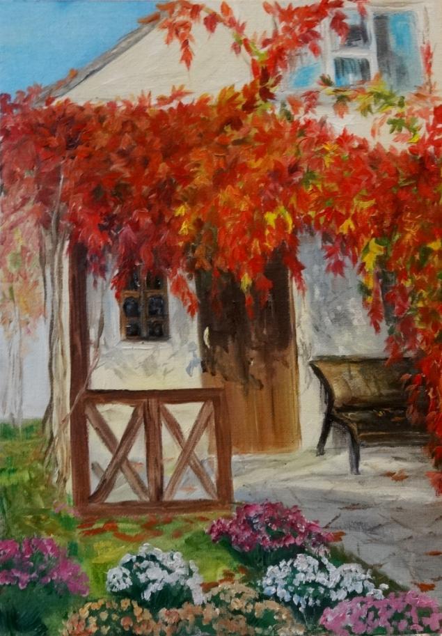 приватная коллекция, образ, хризантемы, девичий виноград, аромат осени, картина маслом