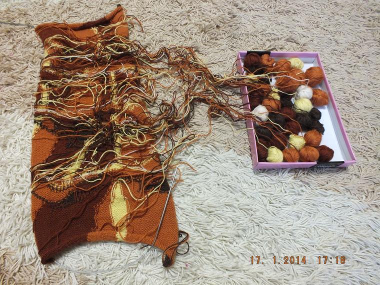 женский джемпер, джемпер с картинкой, разноцветное вязание
