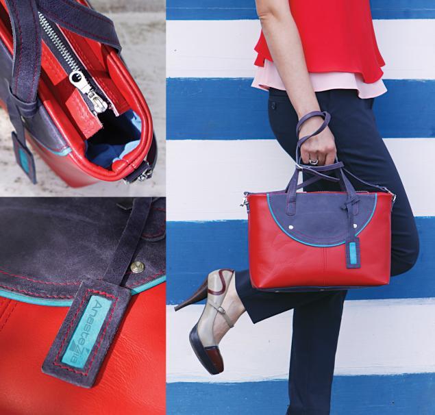 разноцветная сумка, красно-синий
