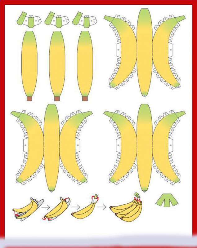 Бананы своими руками из бумаги