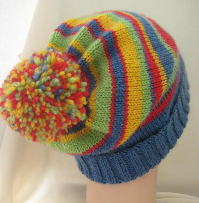 шапка для парня, шапка унисекс, в полоску, шапка-чулок, вязание спицами