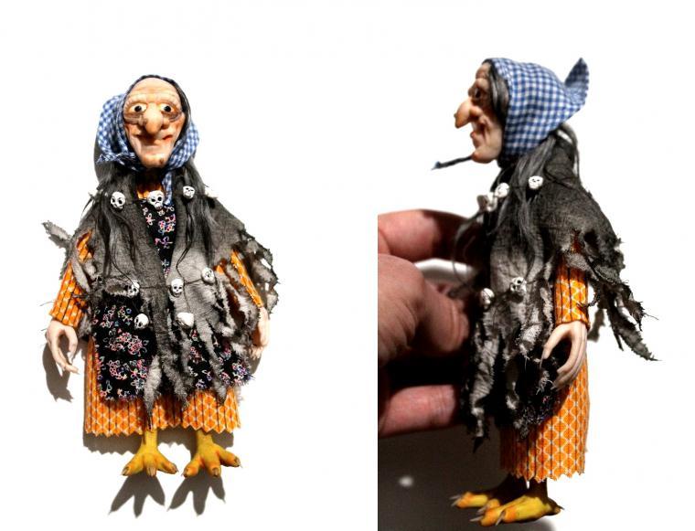 мастер-класс, видео, видео урок, видео мастер-класс, видео мк, полимерная глина, ведьма, баба яга, череп, бусины, миниатюра, сказка, кукольный дом, бутылка, мастер-класс по лепке, миниатюрная сказка, кукольная миниатюра, кукольный домик, для кукол