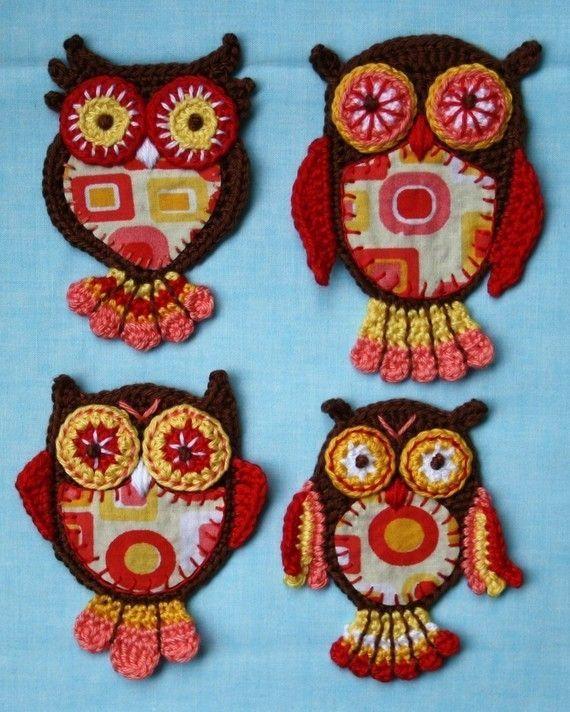 Applique Owl x4 - Vol.1-2 - Crochet Pattern £5.36