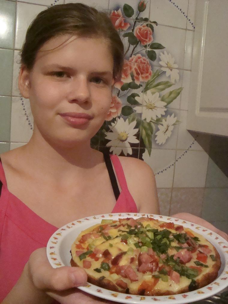 пицца на майонезе, жареная пица, быстрая пицца, пиццца без выпечки, как приготовить пиццу, еда